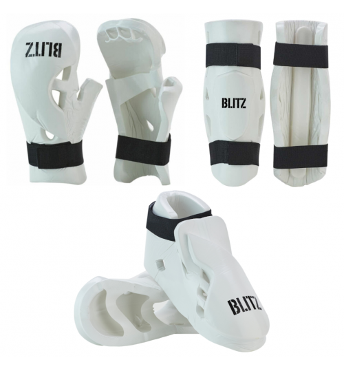 Blitz Double Padded Dipped Foam Sparring Bundle - White