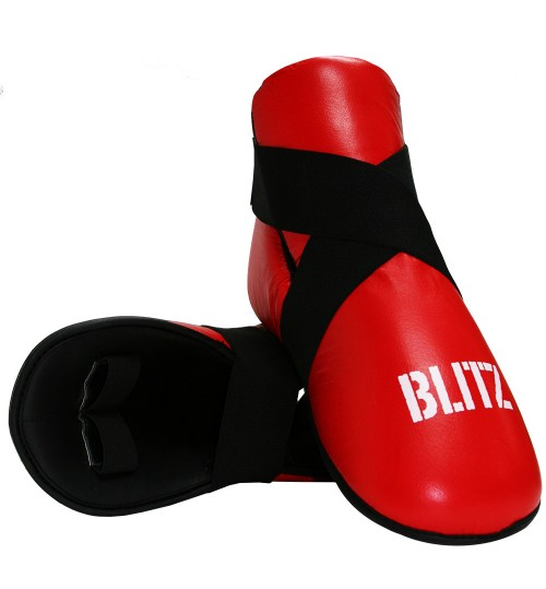 Blitz Pro Leather Semi Contact Foot Protector - Red