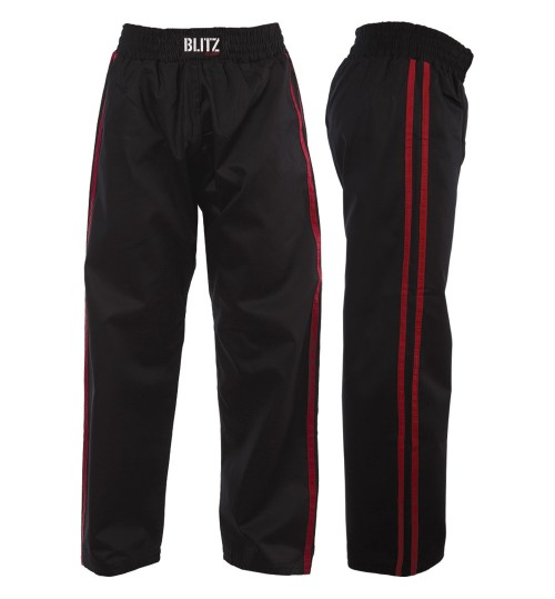 Blitz Adult Classic Satin Full Contact Trousers - Black/Red