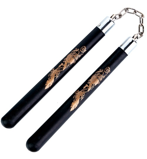 Black Hard Rubber Ball Bearing Nunchaku