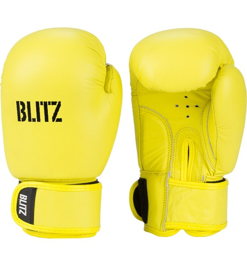 Blitz Kids Alpha Leather Boxing Gloves - Neon Yellow